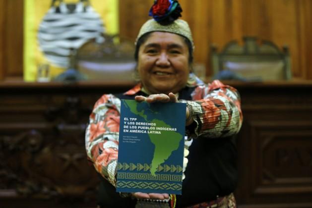 """Ana Llao, werkén (vocera) de la organización mapuche Ad Mapu, durante la presentación del libro """"El TPP y los derechos de los pueblos indígenas en América Latina"""", en Santiago de Chile. Ella cree que el Acuerdo Transpacífico ayudará al saqueo del territorio de su pueblo. Crédito: Observatorio Ciudadano"""