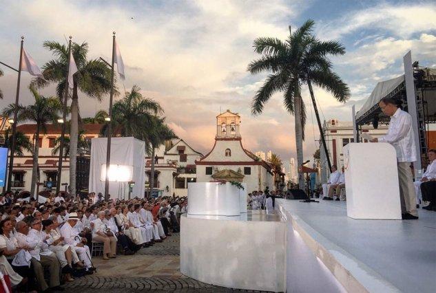 El secretario general de la Organización de las Naciones Unidas, Ban Ki-moon, durante sus palabras en la ceremonia de la firma del acuerdo de paz de Colombia, en Cartagena de Indias. Crédito: ONU