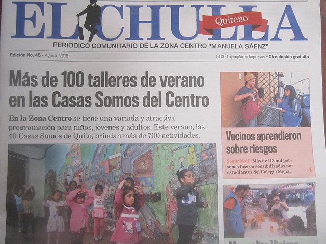 Un ejemplar de El Chulla, un periódico trimestral de 16 páginas y una tirada de 10.000 ejemplares de la capital de Ecuador, que ya cumplió 12 años y es un ejemplo del creciente periodismo comunitario o colaborativo que prospera en América Latina. Crédito: Mario Osava/IPS