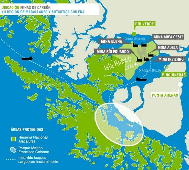 Mapa de la ubicación de las minas de carbón en la isla de Riesco, en la región de Magallanes, en el extremo sur de Chile. Crédito: Alerta Isla Riesco