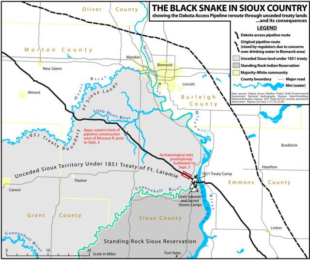 Mapa del territorio sioux afectado por el oleoducto en el estado de Dakota del Norte, en Estados Unidos. Crédito: Northlandia.com