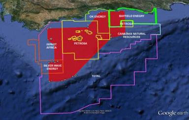 Los derechos de prospección de la compañía Diamond Fields International, en unos 47.468 kilómetros cuadrados del océano Índico, están al lado de zonas de exploración y producción petrolera. Fuente: Diamond Fields International Ltd.