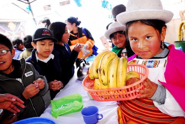 Una niña ataviada con ropa tradicional y festiva de la zona andina de Bolivia, enseña una cestilla de frutas durante una feria escolar en La Paz para promover buenos hábitos alimentarios en el alumnado. Los programas para impulsar la alimentación saludable se extienden por las escuelas de América Latina, para afrontar problemas como la malnutrición y el sobrepeso. Crédito: Franz Chávez/IPS