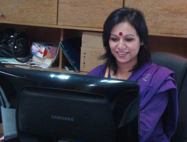 Sanchita Sharma, de Boishakhi Television. Crédito: Cortesía de Sanchita Sharma.