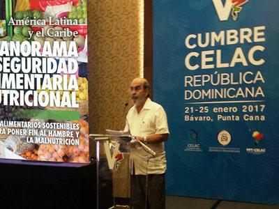 El director general de la FAO, José Graziano da Silva, durante su intervención en la V Cumbre de la Celac, en Punta Cana, en República Dominicana. Crédito: FAO