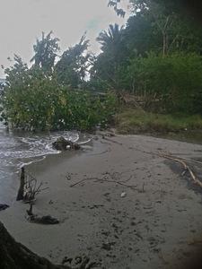 Otro aspecto del avance del mar en las playas de Balfate, una tierra de afamados paisajes en el Caribe hondureño, cuya geografía ha cambiado drásticamente en comparación a hace tres décadas, testimonian sus pobladores. Crédito: Cortesía de Hugo Galeano para IPS