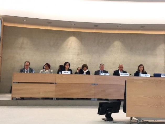 La ministra brasileña Luislinda Valois (segunda por la izquierda) durante el Examen Periódico Universal a su país sobre derechos humanos, realizado el viernes 5 de mayo, por un grupo de trabajo especial del Consejo de Derechos Humanos de la ONU, en Ginebra. Crédito:Mirtis Matsuura/Secretaria de DDHH de Brasil