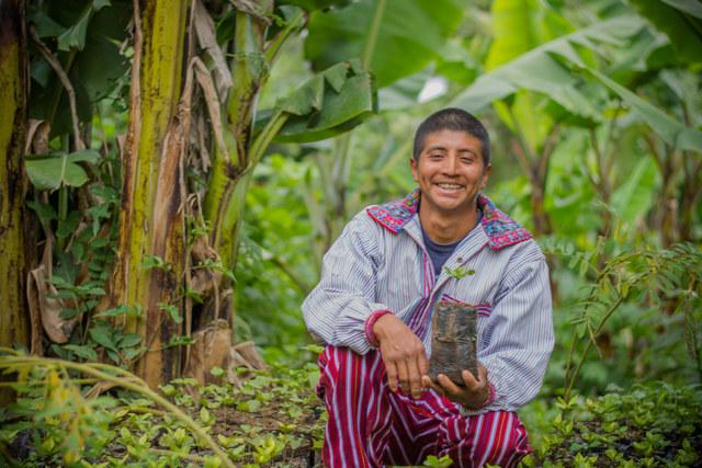 Byron J. Cháles, un pequeño caficultor del departamento de Huehuetenango, en Guatemala, ha logrado tener una alta producción de café con un manejo eficiente de los recursos. Crédito: Luis Sánchez Díaz/FAO