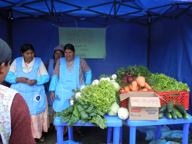 Agricultoras de la localidad rural de Tapila Florida, en el departamento boliviano de La Paz, venden sus productos recién cosechados en un centro de acopio, gracias al apoyo del Centro de Capacitación y Servicio para la Mujer para que desarrollen la agroecología. Crédito: Cortesía de Cecasem