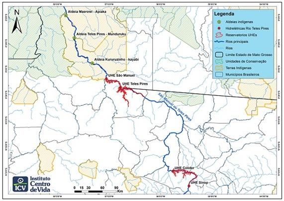 Mapa del río Teles Pires, generador de hidroelectricidad en Mato Grosso, en el suroccidente de la Amazonia brasileña. En rojo, la ubicación de las centrales hidroeléctricas que han perjudicado la forma de vida de indígenas y comunidades ribereñas de pescadores. Crédito: Cortesía de Instituto Ciencia e Vida