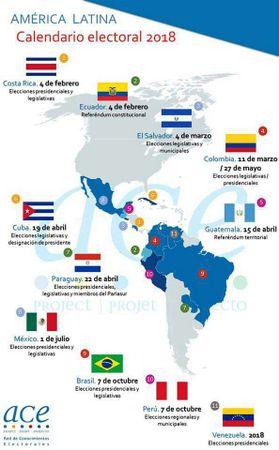 Mapa de los multiples procesos electorales previstos en América Latina durante 2018 y que ya comenzaron a llevar a las urnas a electores de la región el 4 de febrero. Crédito: ACE