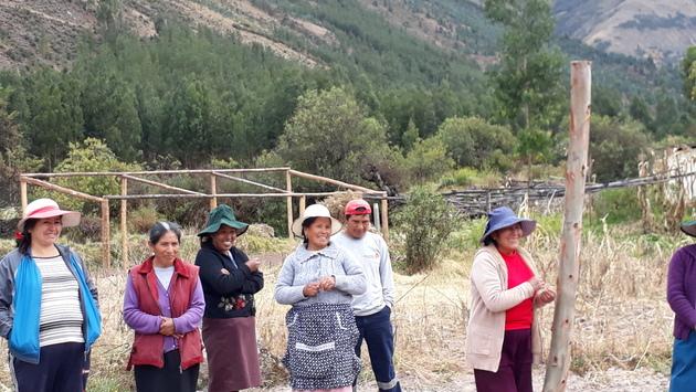 Agricultoras de Paropucjio, en el municipio de Cusipata, a más de 3.300 metros de altura, bromean llamando esqueleto a la estructura de madera de su invernadero, con un techo de microfilm especial para temperaturas extremas, que ellas construyen mediante el trabajo colaborativo, en la región andina de Cusco, en Perú. Crédito: Mariela Jara/IPS