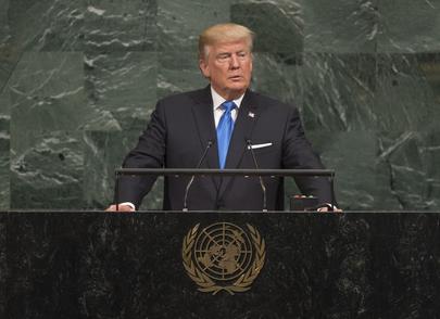 El presidente de Estados Unidos, Donald Trump, se dirige a la Asamblea General de la ONU. Crédito: Cia Pak/UN Photo.