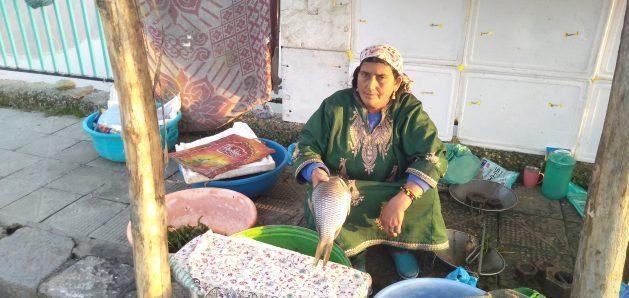 Rahti Begum vende pescado al borde del camino en Srinagar, la capital del estado indio de Cachemira. Ella cree que será la última mujer de su clan en vender pescado por la contaminación del lago Dal. Crédito: Umar Manzoor Shah/IPS.