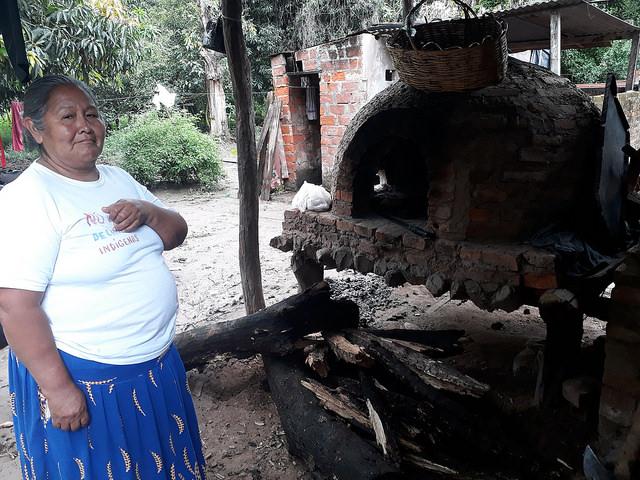 Aida Valdez muestra el horno a leña en el que cocina, en el exterior de su casa en la comunidad guaraní de Yariguarenda, en las afueras de la ciudad de Tartagal, en el norte de Argentina. Actualmente, esa comunidad enfrenta un juicio de un particular que reclama una parte de las tierras que ocupan. Crédito: Daniel Gutman/IPS