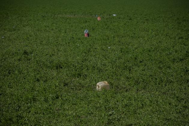 Bidones, cubetas, botellas y jícaras abandonadas cerca del lugar de la explosión de la toma clandestina de gasolina. Crédito: Ximena Natera/Pie de Página