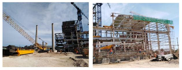 Combinación elaborada por IPS de dos fotografías, que muestra la planta de bioelectricidad en construcción en áreas aledañas al ingenio azucarero de Ciro Redondo, en la provincia de Ciego de Ávila, en el centro de Cuba. Crédito: Cortesía de Azcuba