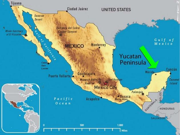 La península de Yucatán, que divide el golfo de México en el mar Caribe, abarca los estados de Campeche, Quintana Roo y Yucatán, y desempeña un papel climático neurálgico, pues alberga selva que regula el flujo de agua y la temperatura en la región. Crédito: Dominio público