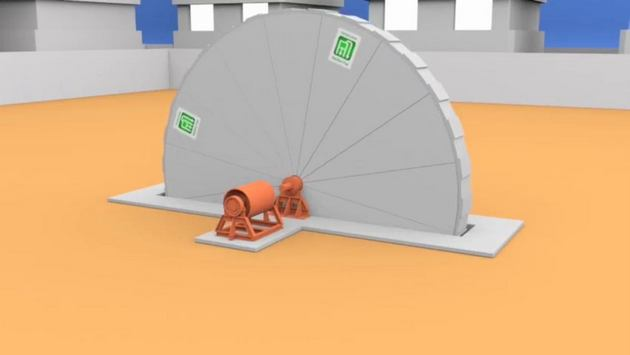 Una rueda metálica hecha por partes para facilitar su transporte y que produce electricidad al girar impulsada por un fluido interno, que se expande por una reacción química. Con una potencia de 3,5 megavatios en su modelo general, este generador en proceso de comercialización de Eletro Roda podría producir electricidad sin intermitencia y ocupando solo 200 metros cuadrados. Crédito: Cortesía de Eletro Roda
