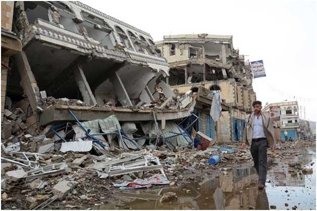 Imagen de la destrucción en una zona civil de una ciudad de Yemen, que dejan cuatro años de guerra. Crédito: ONU