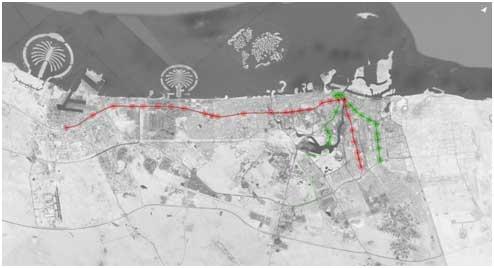 Trazado de la conectividad del metro o tren subterráneo en la ciudad de Dubái. Crédito: Cortesía de Karishma Asarpota