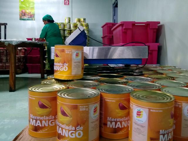 Latas de mermelada de mango esperan para ser embaladas en la pequeña fábrica de conservas La Ignacita, que produce una tonelada de pulpa de frutas diaria a partir de una producción libre de agroquímicos, con lo que reduce las pérdidas de cosechas de su cooperativa, situada en San Miguel del Padrón, un municipio periférico de la capital cubana. Crédito: Ivet González/IPS