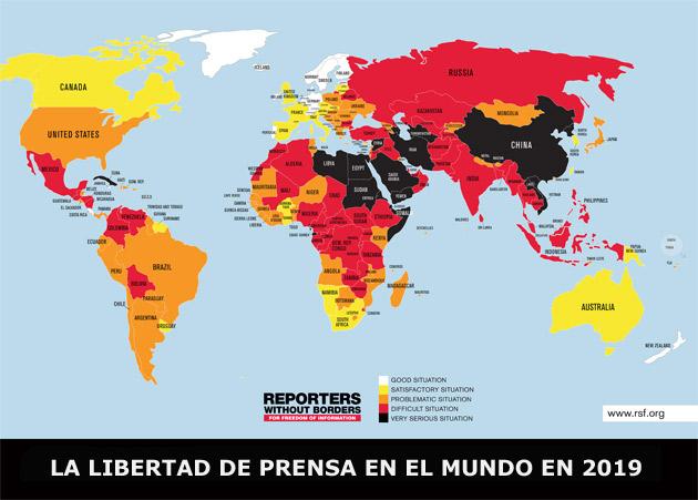 Sudán y otros países del noreste de África, situados entre los peores del mundo en la Clasificación Mundial de Libertad de Prensa 2019 de Reporteros Sin Fronteras. Pero también hay algunos otros del continente mejor situados que Estados Unidos o Gran Bretaña. Crédito: RSF