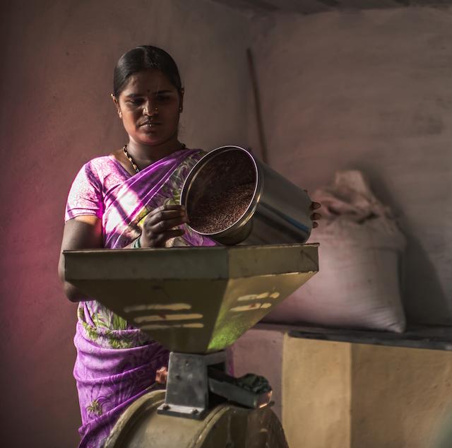 En India, como en otras economías del Sur en desarrollo, las mujeres administran la seguridad alimentaria familiar, y cada vez más la energía solar fuera de la red convencional las ayuda en su propósito. En la imagen, una campesina alimenta un molino de 1,5 vatios movido por energía solar en la azotea de su casa en Male Mahadeshwara Hills, en occidental estado indio de Karnataka. Crédito: Cortesía de SELCO India