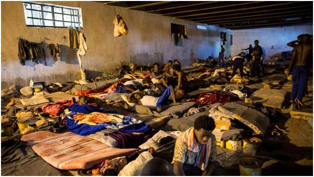El desolador estado de un centro de detención de migrantes en el norte de Libia. Crédito: ONU