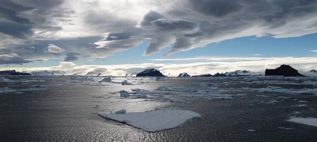 Piezas de hielo flotando en el Canal Príncipe Gustavo, en la Antártida, donde antes existían plataformas de hielo de más de 28 kilómetros. Crédito: Gonzalo Javier Bertoloto