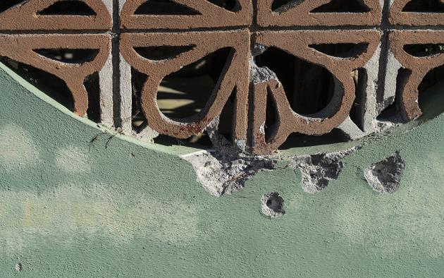 Impactos de bala en las casas del Barrancón del Tío Blas, en el municipio de San Fernando, en el estado de Tamaulipas, en la frontera con Estados Unidos. Crédito: Duilio Rodríguez/Pie de Página