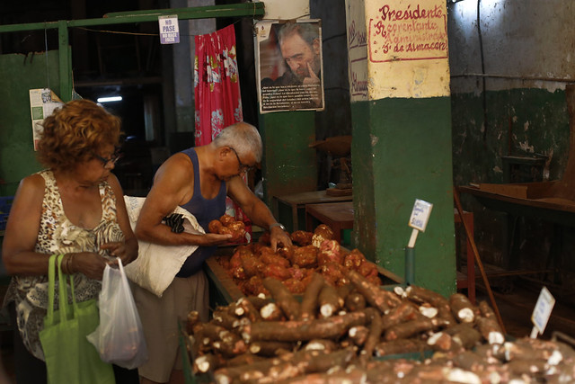 Dos clientes escogen productos agrícolas junto a la imagen del extinto líder de la revolución cubana Fidel Castro, en un expendio estatal de alimentos, en un barrio de La Habana. El abastecimiento de alimentos se resiente en Cuba, que dependen altamente de las importaciones. Crédito: Jorge Luis Baños/IPS