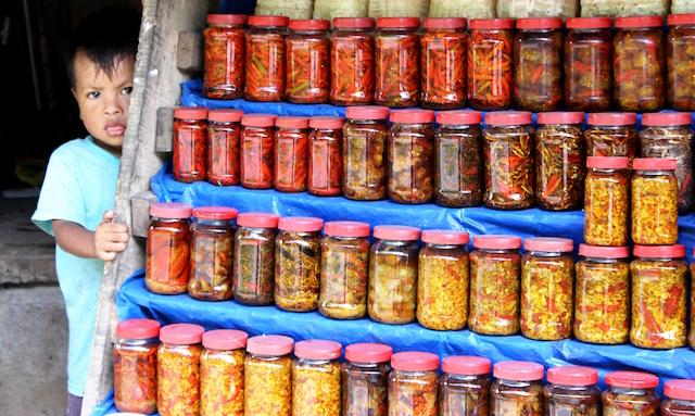 Un niño indígena khasi asoma detrás de un estante con una gran variedad de vegetales encurtidos y bayas que se venden en pequeños expendios en las carreteras del estado de Meghalaya, en el noreste de India, mientras su madre atiende a algunos clientes. Crédito: Manipadma Jena / IPS