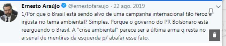 La imagen internacional de Brasil se deterioró en temas ambientales, entre otros.