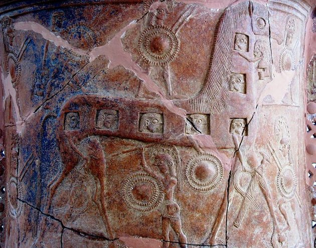Caballo de Troya en un detalle del Vaso de Mikonos, del siglo VII AC: Foto: Museo Arqueológico de Mikonos