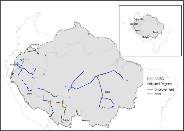 Mapa de los proyectos viales analizados. En azul, las carreteras nuevas y en marrón las que serían mejoradas con un nuevo trazado. Foto: Thais Vilela/PNAS