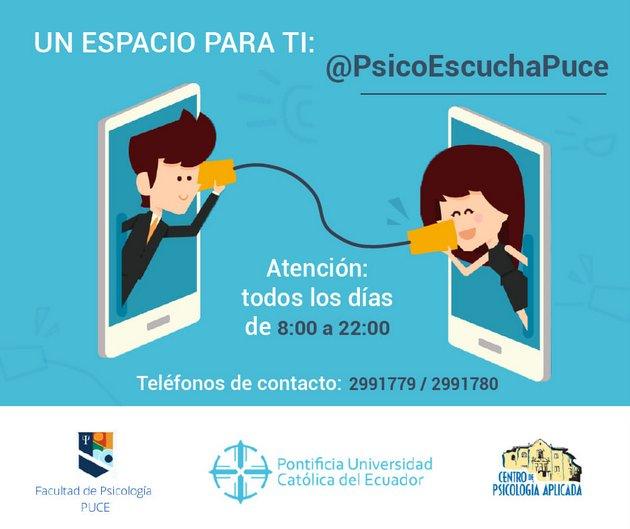 La Pontificia Universidad Católica de Ecuador ofrece asistencia psicológica telefónica gratuita diariamente. Foto: Puce