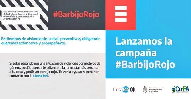 """En Argentina, una iniciativa llamada """"barbijo rojo"""" activa un protocolo de ayuda por violencia de género. Foto: Ministerio de las Mujeres, Géneros y Diversidad de Argentina"""