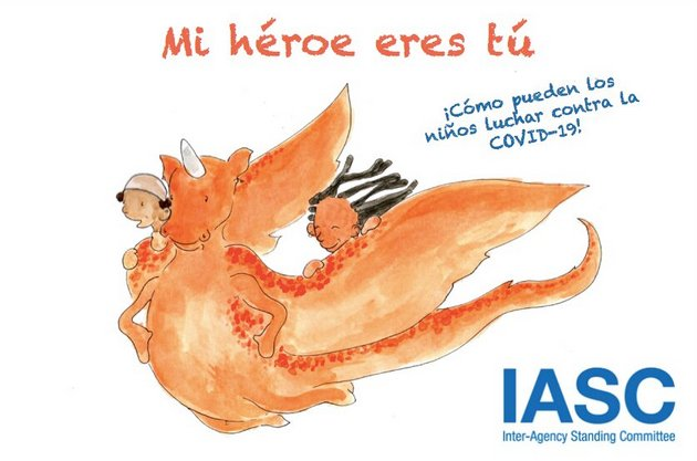 """El libro """"Mi héroe eres tú"""" ayuda a los niños a comprender la pandemia y aprender a desenvolverse en ella. Foto: IASC"""