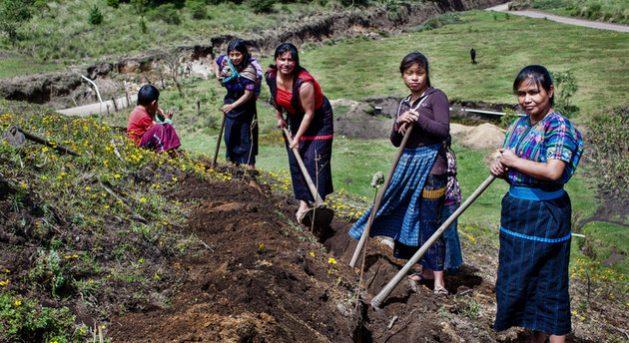 Mujeres labrando el campo en Guatemala. El trabajo de la mujer es fundamental para asegurar la provisión de alimentos, agua y energía de cientos de millones de personas en el planeta, y resultan de las más afectadas al combinarse el cambio climático con la violencia de género y los conflictos que derrumban la paz. Foto: Caroline Trutmann/PNUD