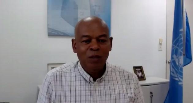 Harold Robinson, director regional para América Latina y el Caribe de UNFPA, en la conferencia de prensa virtual realizada el 29 de junio para presentar datos del Estado Mundial de la Población 2020 a periodistas regionales. Foto: UNFPA Cuba