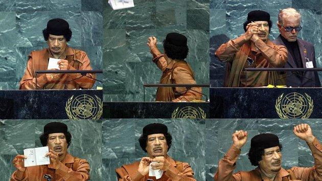 Varios momentos del discurso de Muammar Gadafi ante la Asamble Genral de la ONU en septiembre de 2009, ante la que se presentó como 'Líder de la revolución de la Jamahiriya Árabe Libia Popular y Socialista, Presidente de la Unión Africana y Rey de los Reyes de África'. Durante su discurso, muy duro, maltrató un ejemplar de la Carta de Naciones Unidas. Foto: Euronews