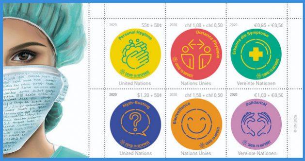 La OMS produjo sellos postales que invitan a la prevención contra el coronavirus, como parte de su campaña para tratar de contener la pandemia mientras aguarda por una vacuna que sea eficaz y pueda distribuirse masivamente. Imagen: ONU