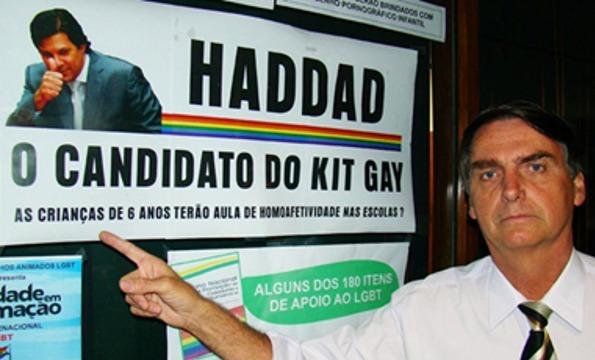 """El llamado """"kit gay"""" fue una de las noticias falsas más agresivas de la campaña electoral de Jair Bolsonaro contra su principal oponente, Fernando Haddad, del izquierdista Partido de los Trabajadores. Aseguraba que el Ministerio de Educación, cuando Haddad era su titular, distribuía materiales de educación sexual para conducir a los estudiantes a la homosexualidad. Se llegó a decir que en las guarderías se usaban biberones en forma de pene. Foto: Congressoemfoco.uol.com"""