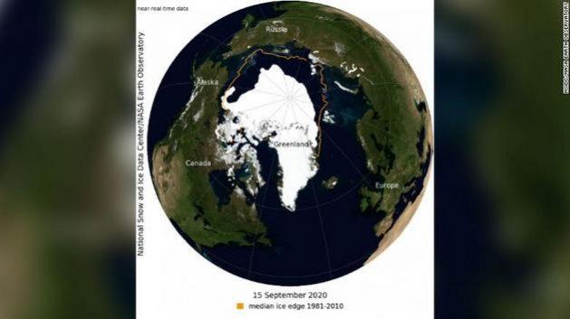 Fotografía satelital de la Pérdida de hielo en el Ártico.