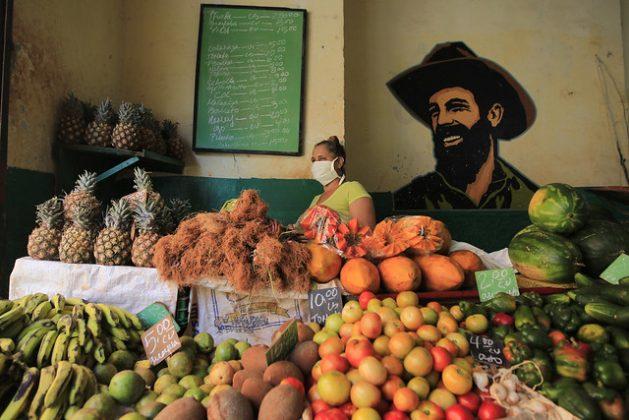 Una dependienta aguarda la llegada de clientes en una tienda de frutas y verduras de administración privada, en La Habana. Aunque la Constitución de Cuba ampara el derecho de todas las personas a una alimentación sana y adecuada, los precios de algunos alimentos como frutas y vegetales a veces resultan prohibitivos para parte de la población. Foto: Jorge Luis Baños/IPS