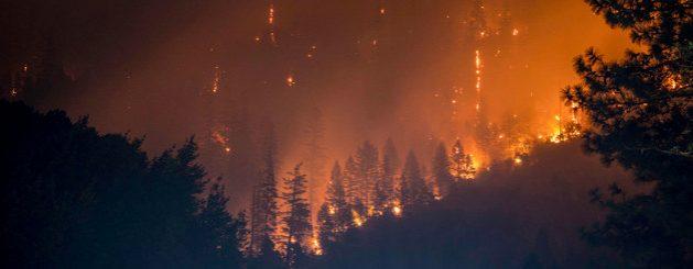 Un incendio en el parque nacional Klamath, en California, en Estados Unidos, muestra del impacto del calentamiento del planeta, que sigue indetenible a pesar del cierre de muchas actividades por la pandemia covid-19. Foto: Matt Howard/Unplash