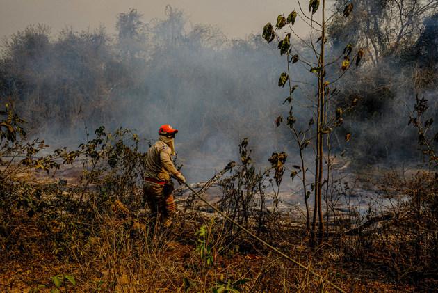 Un bombero militar brasileño intenta controlar las llamas que ya destruyeron casi 20 por ciento de la vegetación del Pantanal, el mayor humedal del mundo, que ocupa tierras fronterizas entre Bolivia, Brasil y Paraguay. Los incendios se atribuyen al calor inusual por el cambio climático, cuya gravedad es negada por el gobierno del presidente Jair Bolsonaro. Mayke Toscano/Secom-MT-Fotos Públicas