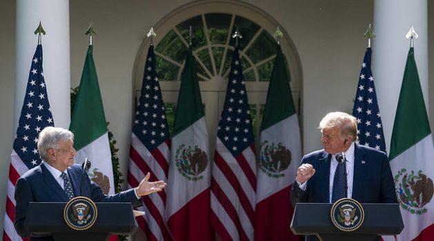 Los presidentes de México, Andrés Manuel López Obrador (I), y de Estados Unidos, Donald Trump, durante la visita del mandatario latinoamericano a la Casa Blanca, el 8 de julio, en que demostraron su buena sintonía. Foto: Casa Blanca