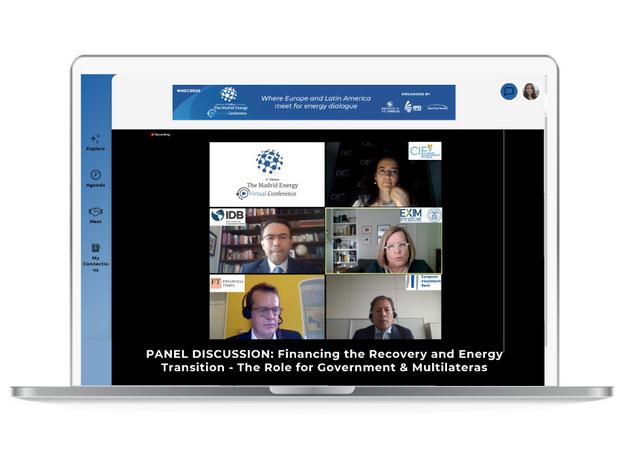 Una de las sesiones de debate de la Conferencia sobre Energía de Madrid, dedicada a la transición energética, que realizó su segunda edición en forma virtual, entre el 28 de septiembre y el 2 de octubre, organizada por el Instituto de las Américas. Foto: IA